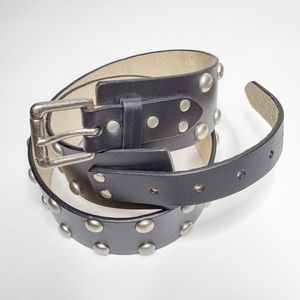 Edgy Black Studded Genuine Leather Bonded Belt L
